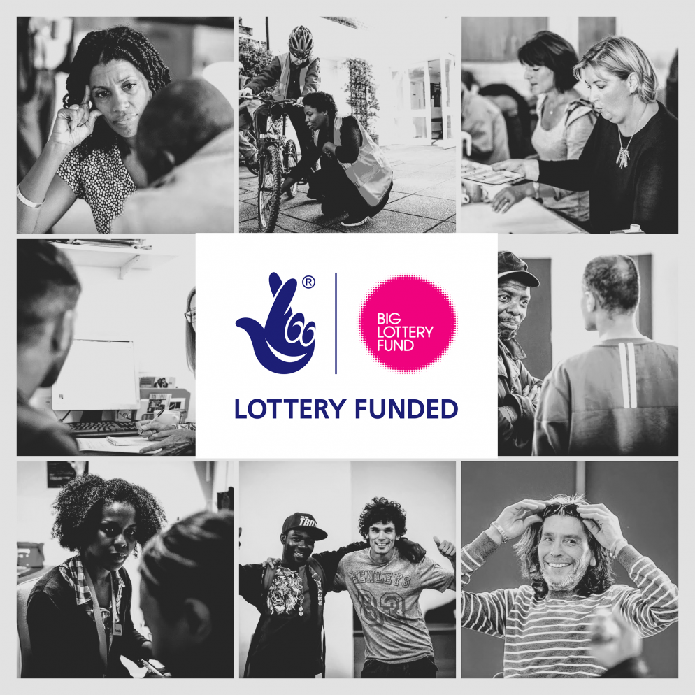 Collage of images representing the ways we help homeless people with Big Lottery Fund logo overlay