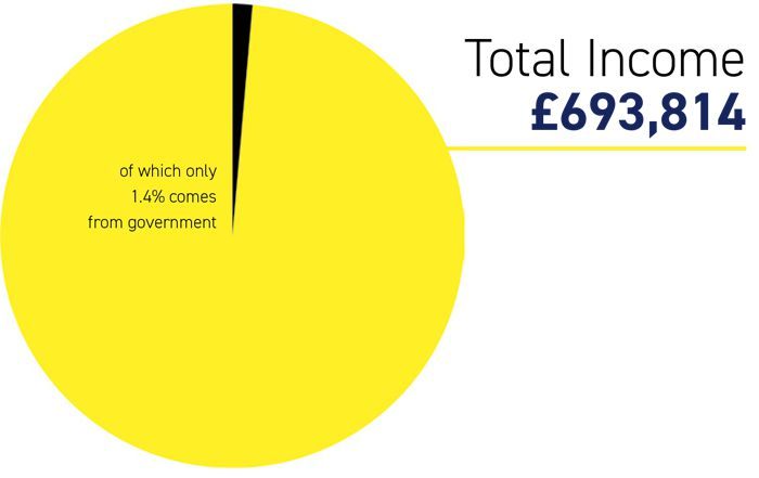 Pie chart showing where our funding comes from